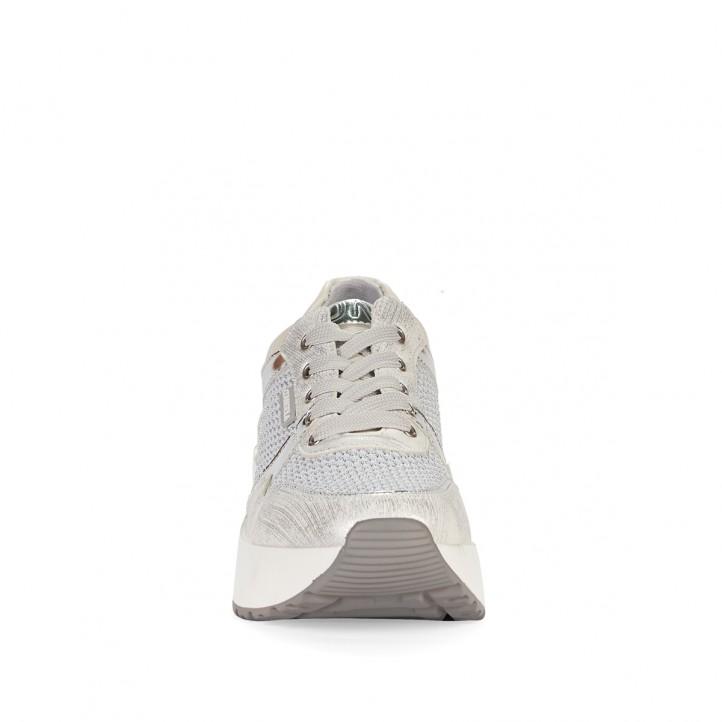 Zapatillas deportivas D'Angela blancas y grises con detalles metalizados - Querol online