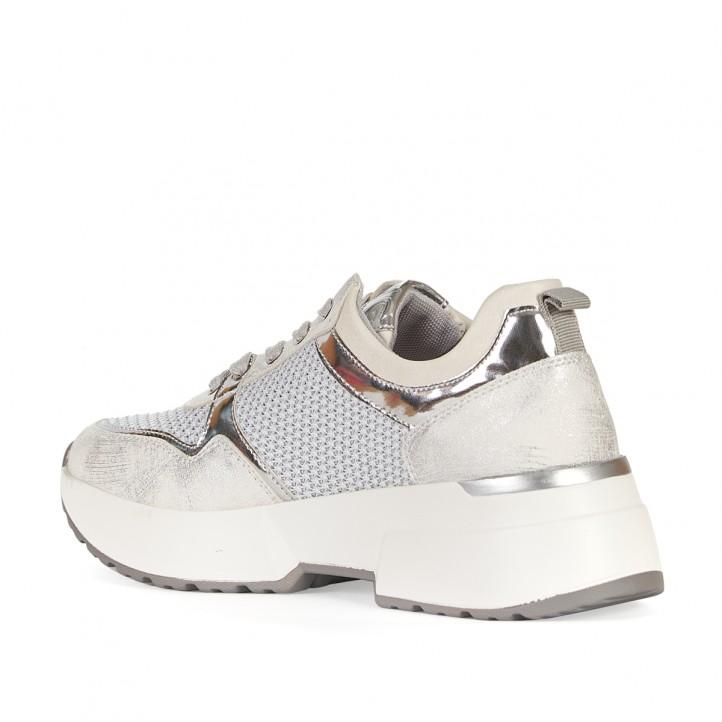 Sabatilles esportives D'Angela blanques i grises amb detalls metal·litzats - Querol online