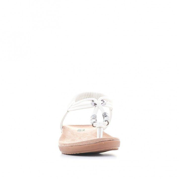 Sandalias planas Amarpies blancas con adornos metalizados - Querol online