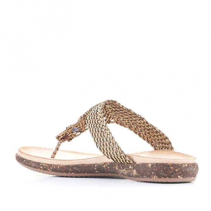 Sandalias planas You Too trenzada con detalles de colores - Querol online