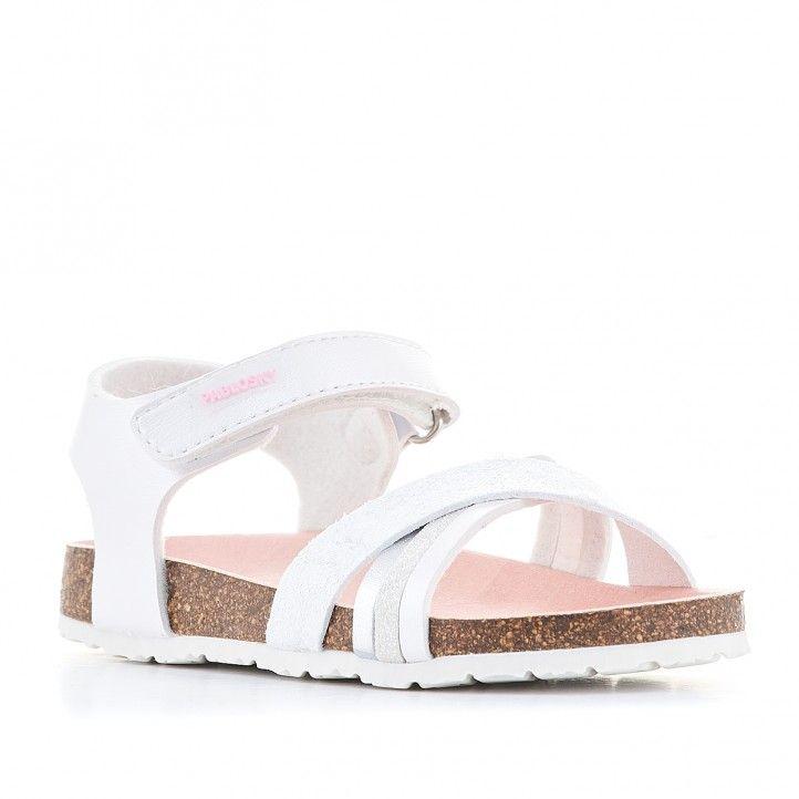 sandalias Pablosky blanca y rosa cogida al tobillo - Querol online