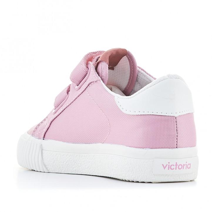 Sabatilles lona Victoria roses amb acabats en blanc - Querol online