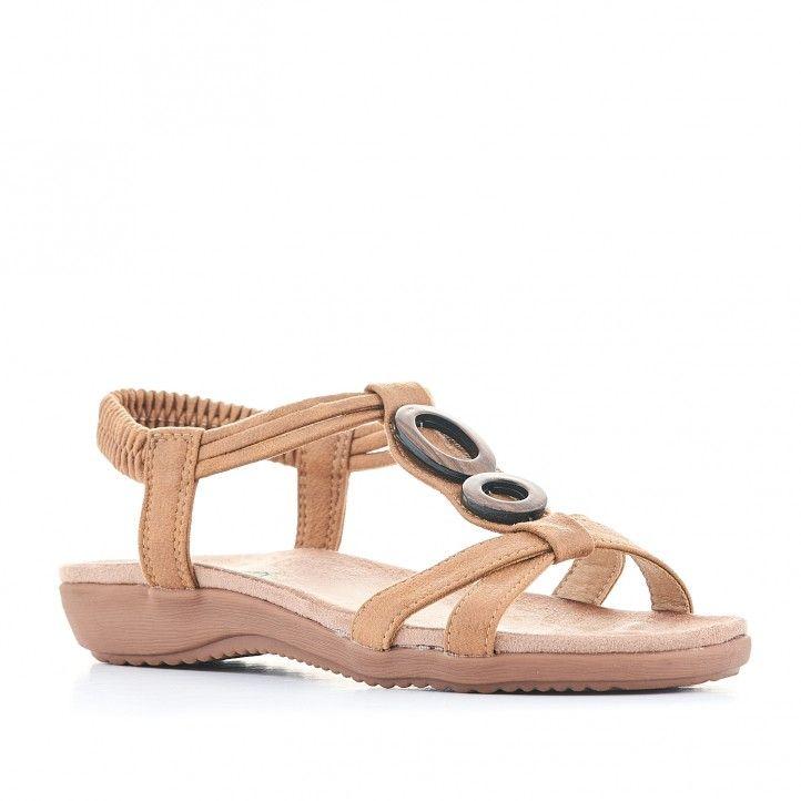 Sandalias planas Amarpies con tira marrón doble y detalle de madera - Querol online