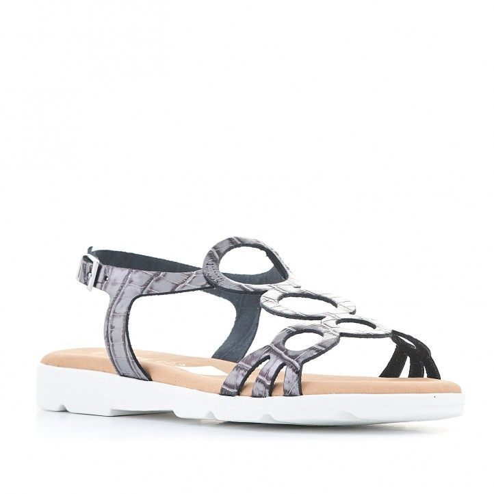 Sandalias planas Suite009 con suela blanca, redondas y animal print - Querol online