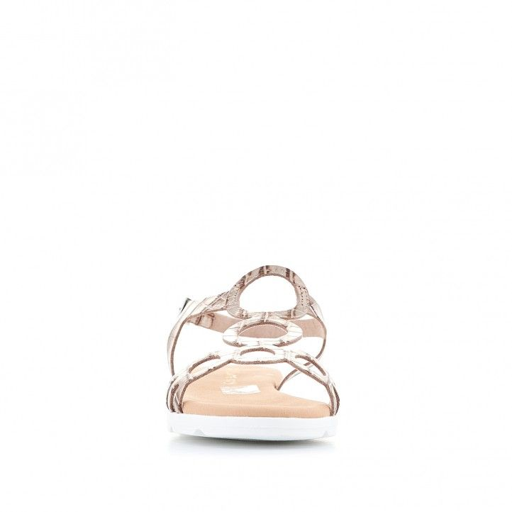 Sandàlies planes Suite009 amb sola blanca, daurat, rodones i animal print - Querol online