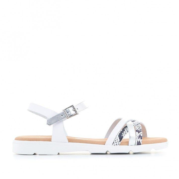Sandalias planas Suite009 con tiras blancas y animal print - Querol online