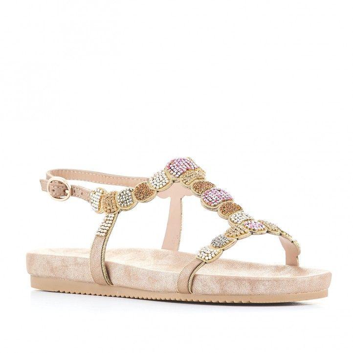Sandàlies planes Alma en pena color crema amb pedres de colors - Querol online