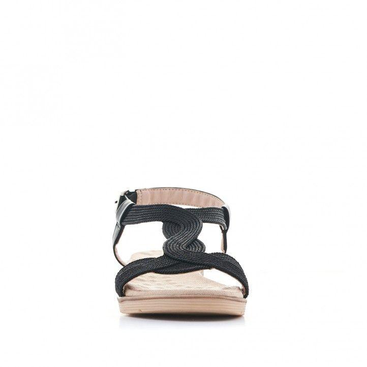 Sandalias planas You Too negras con tira cruzada - Querol online