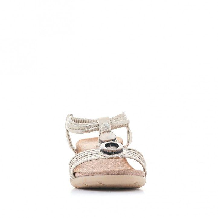Sandalias cuña You Too crema con varias cuerdas - Querol online