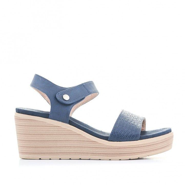 Sandalias cuña You Too azules con botón de enganche - Querol online