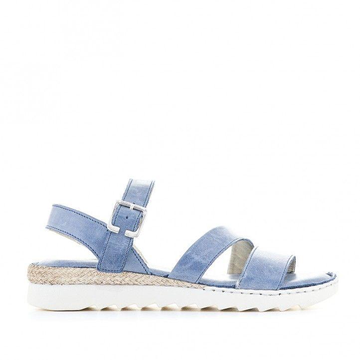 Sandalias planas Zen azules con doble tira delantera - Querol online