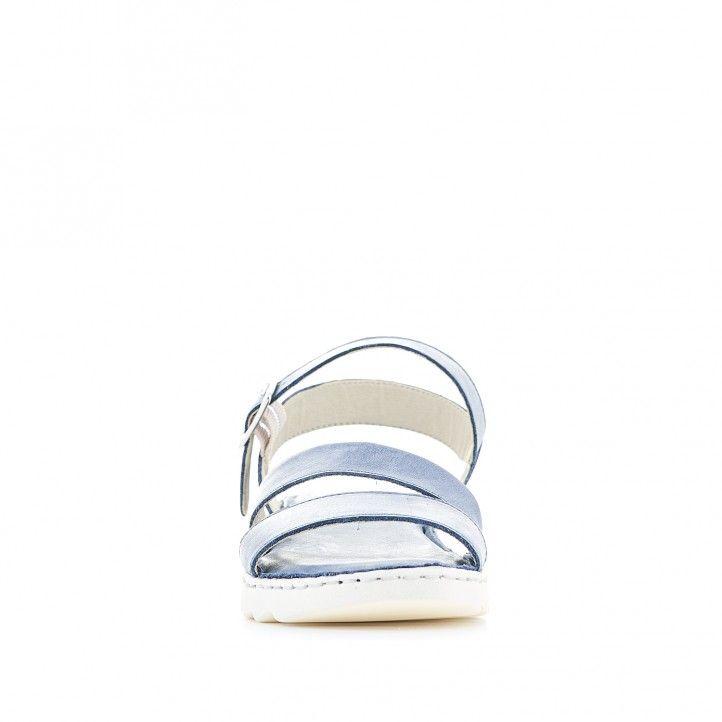 Sandàlies planes Zen blaves amb doble tira davantera - Querol online