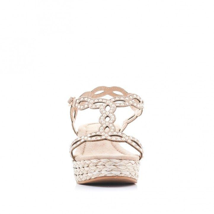 Sandalias cuña Alma en pena marrones con detalles en forma de diamante - Querol online
