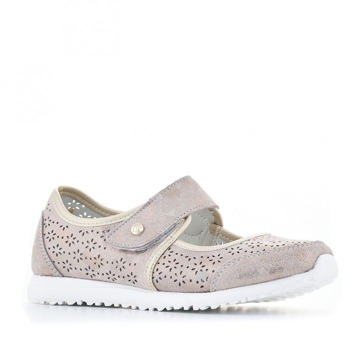Zapatos planos Amarpies gris-marrones perforados - Querol online