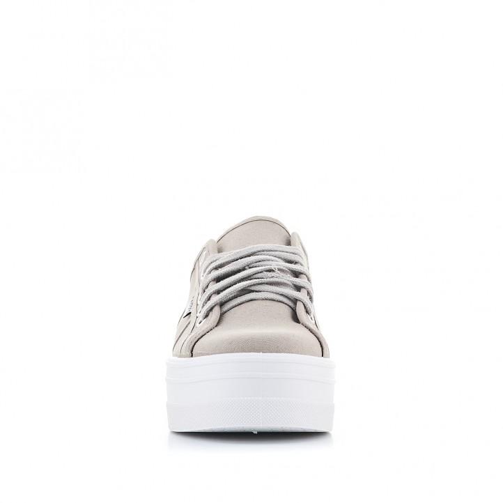 Zapatillas lona Victoria de plataforma marrón - Querol online