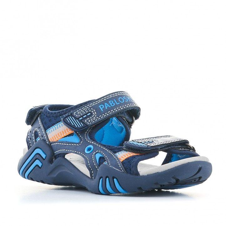 sandalias Pablosky azules oscuro con detalles en claro - Querol online