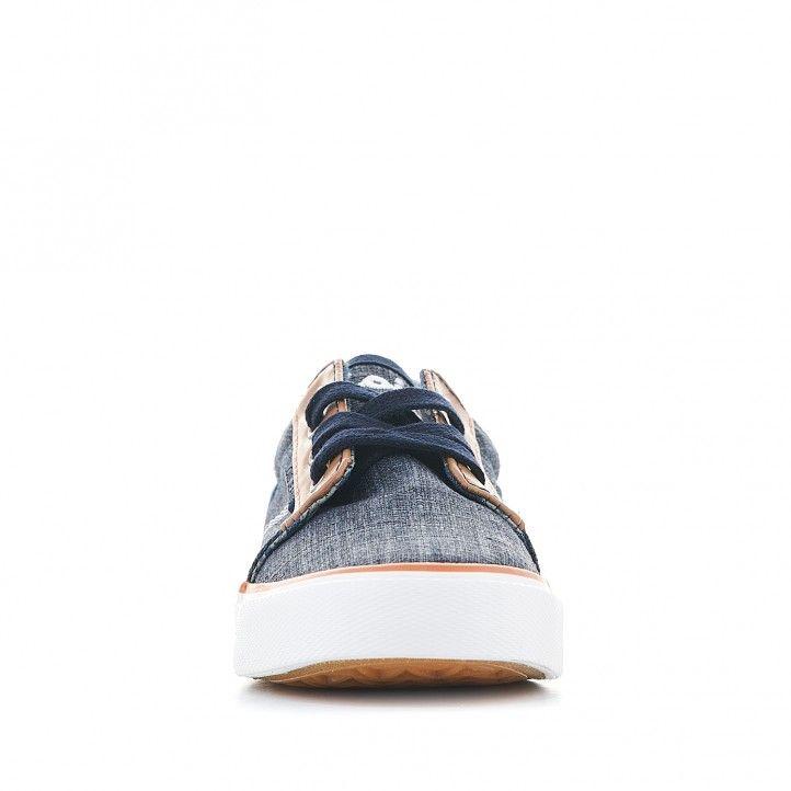 Zapatillas lona Lois denin con detalles en cuero - Querol online