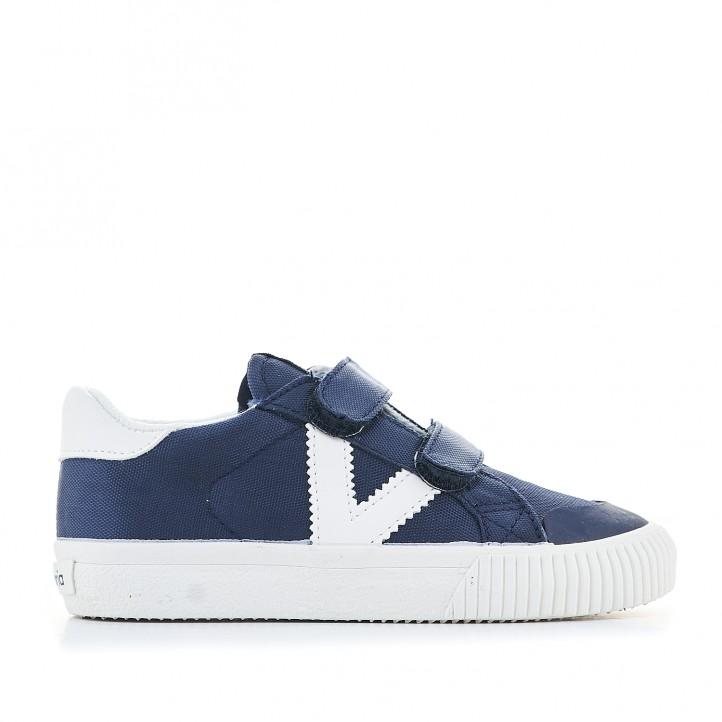 sabatilles lona Victoria blaves amb acabats en blanc - Querol online
