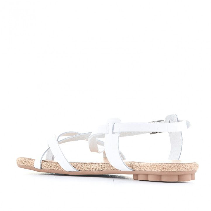 Sandalias planas Porronet blancas cogida al tobillo y varias tiras - Querol online