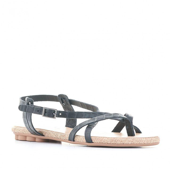 Sandalias planas Porronet negras cogida al tobillo y varias tiras - Querol online