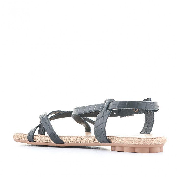 Sandàlies planes Porronet negres agafada al turmell i diverses tires - Querol online