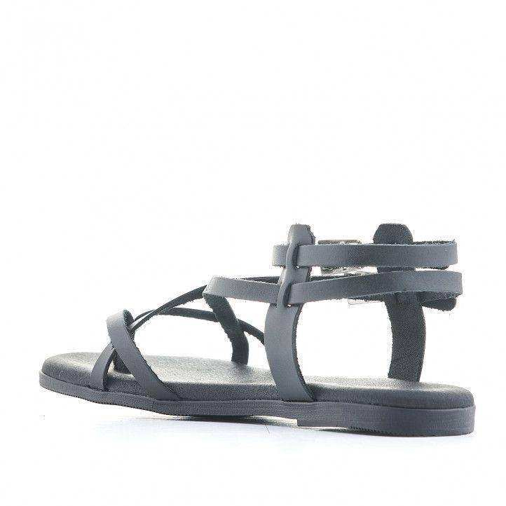 Sandalias planas Suite009 negras con doble tira en el tobillo - Querol online