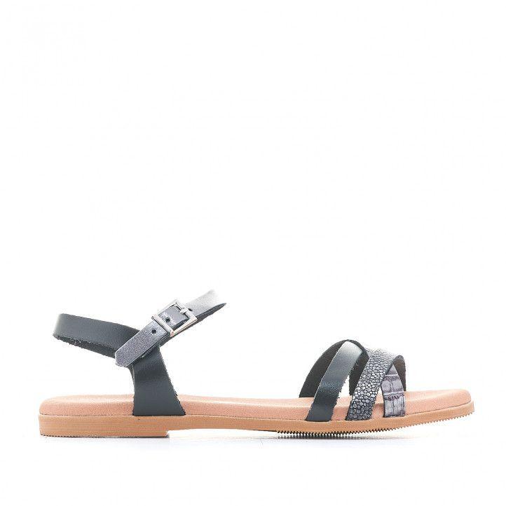 Sandàlies planes Suite009 negres amb tires de diverses textures - Querol online
