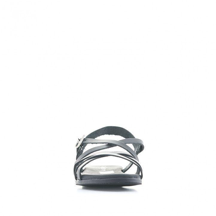 Sandalias planas Suite009 negras con varias tiras delgadas - Querol online