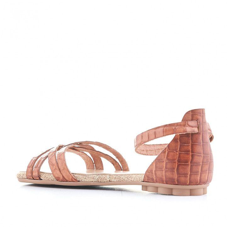 Sandalias planas Porronet marrons cogidas al tobillo y estampado animal print - Querol online