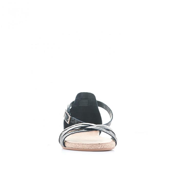 Sandàlies planes Porronet negres agafades al turmell i estampat animal print - Querol online