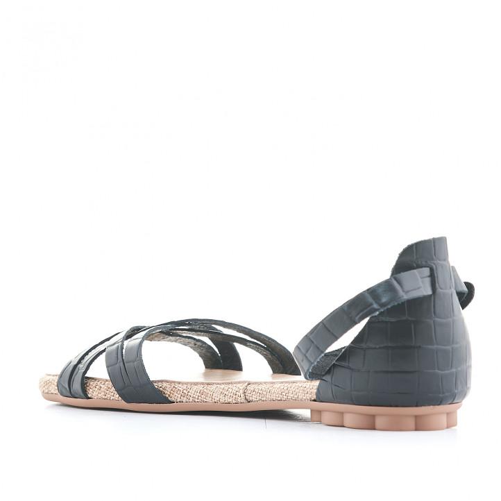 Sandalias planas Porronet negras cogidas al tobillo y estampado animal print - Querol online