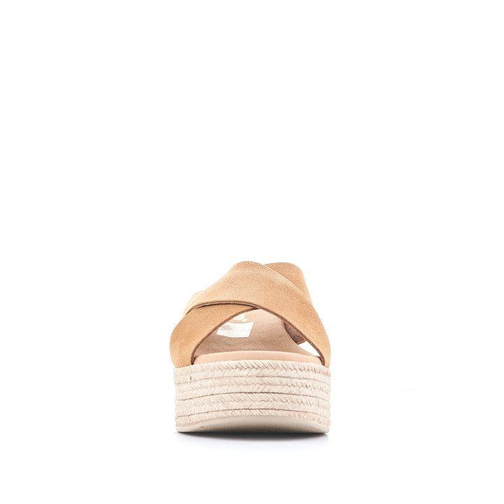 Sandàlies plataformes Redlove amb doble tira creuada i marrons clar - Querol online