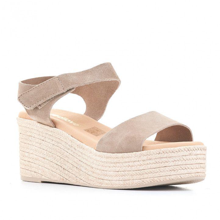 Sandalias plataformas Redlove cogida al tobillo y marrón grisáceo - Querol online
