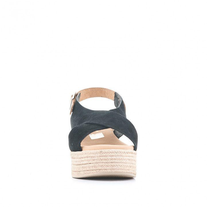 Sandalias plataformas Redlove con doble tira negra y cogida al tobillo - Querol online