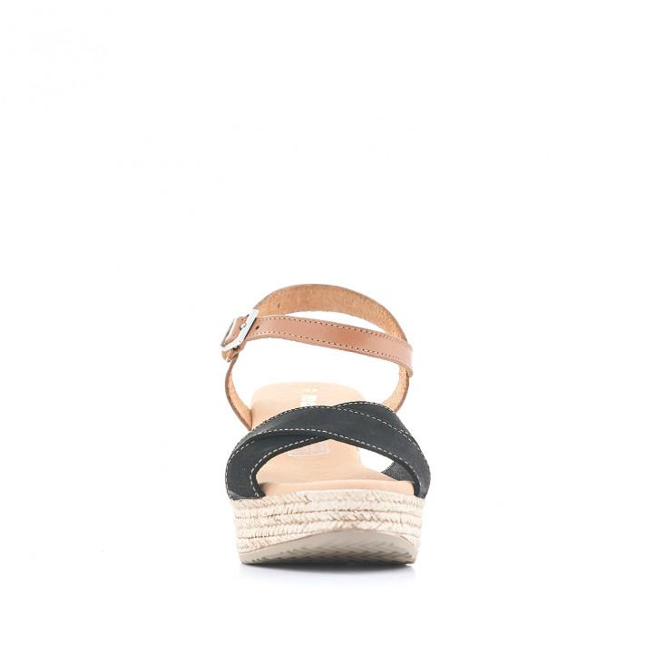 Sandalias tacón Redlove con bandas cruzadas negras y detalle en cuero - Querol online