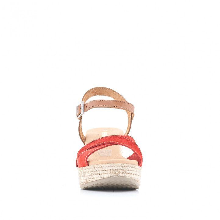 Sandalias tacón Redlove con bandas cruzadas rojas y detalle en cuero - Querol online