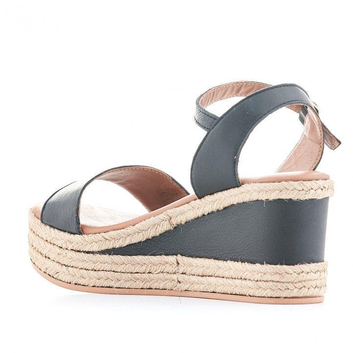 Sandalias cuña Popa negras con plataforma interior negra - Querol online