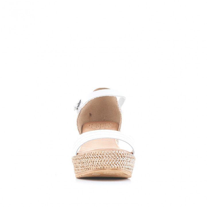 Sandalias cuña Porronet con banda animal print blanca - Querol online