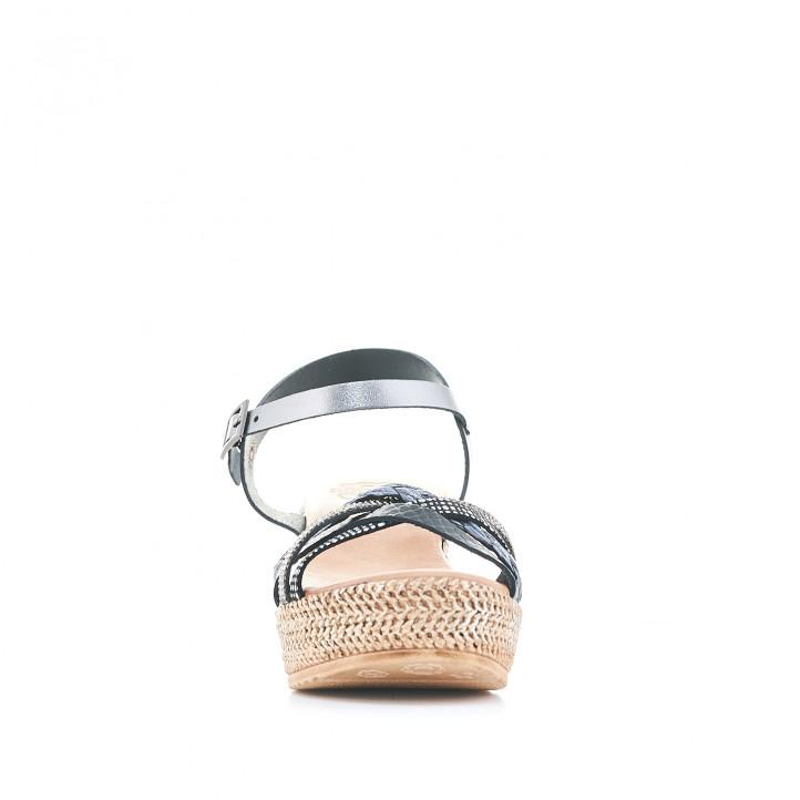 Sandàlies falca Porronet amb diferents textures en les tires - Querol online