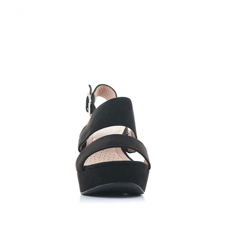 Sandalias tacón Owel negras con gran plataforma - Querol online