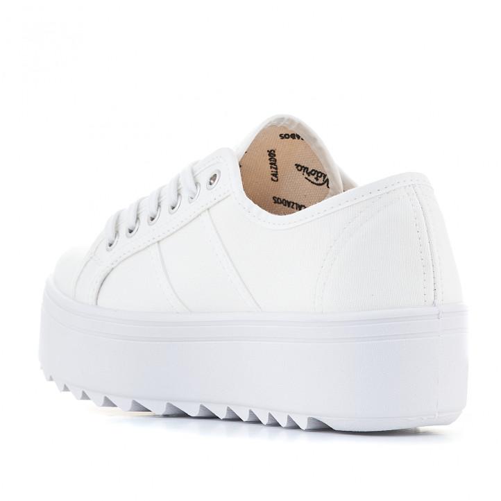 Zapatillas lona Victoria blancas con suela dentada y plataforma - Querol online