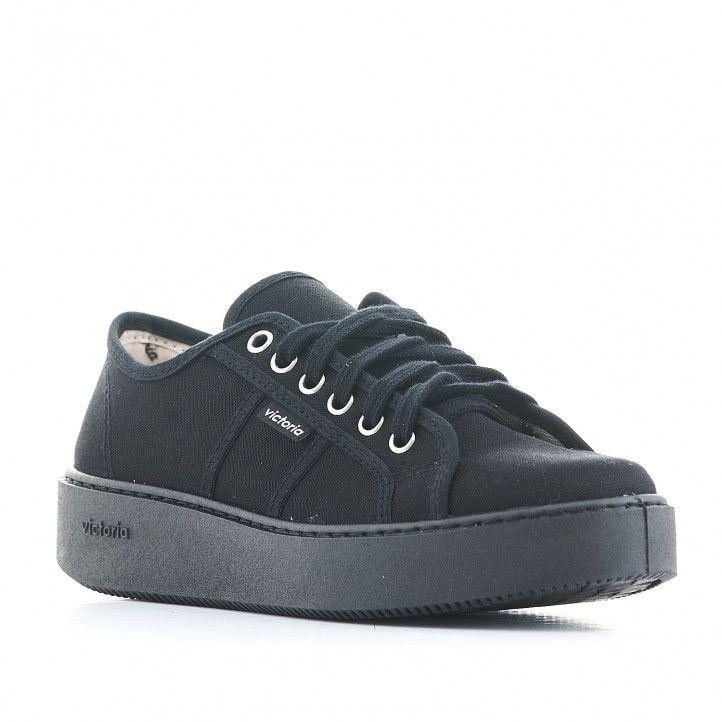 Zapatillas lona Victoria modelo utopía todo negro - Querol online