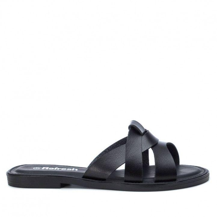 Sandalias planas Refresh 072247 negras - Querol online