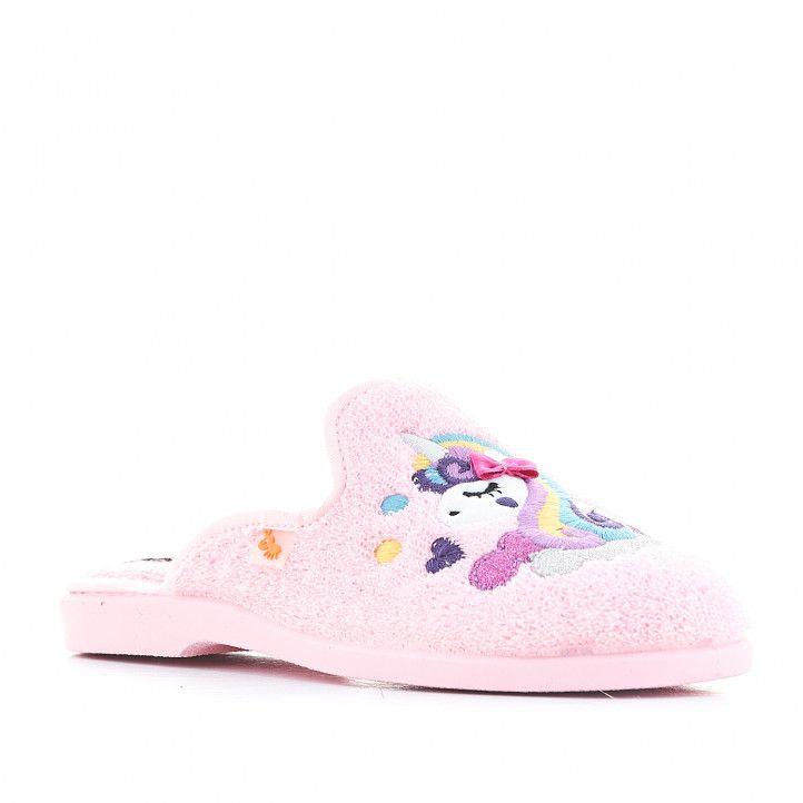 Zapatillas casa Vul·ladi rosas con unicornio - Querol online