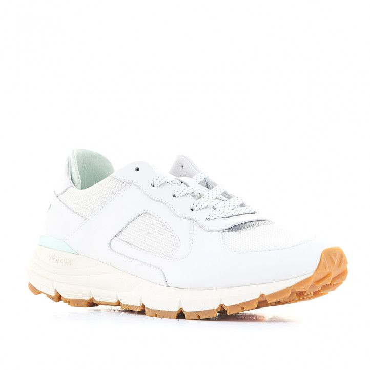 Zapatillas deportivas CLAE blancas con interior verde claro - Querol online