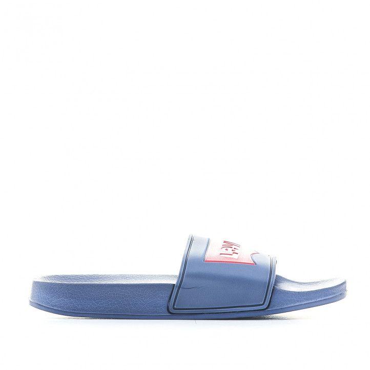 chanclas Levi's Kids azules con logo rojo en pala - Querol online