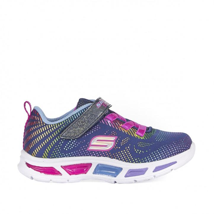 Zapatillas deporte Skechers lila con varios reflejos de color - Querol online