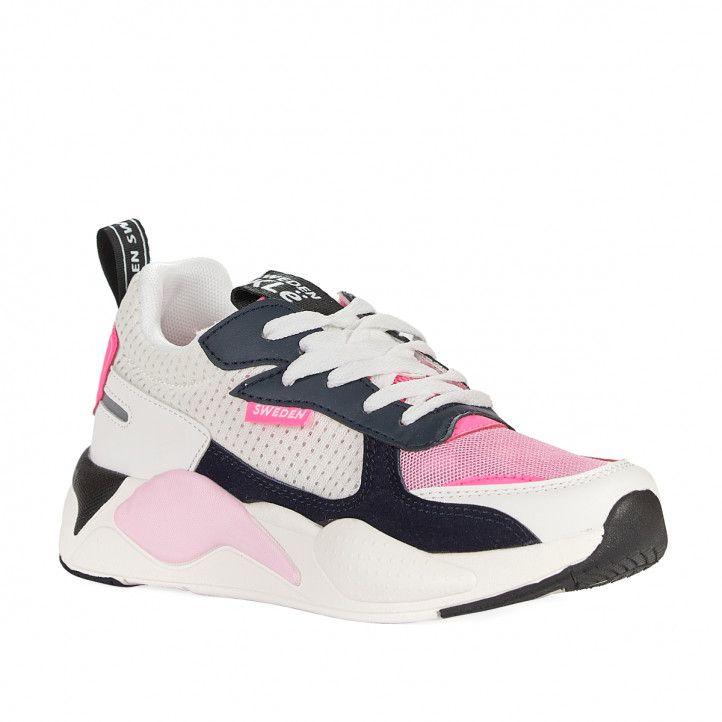 Zapatillas deportivas Sweden Klë blancas con partes negras y rosas - Querol online