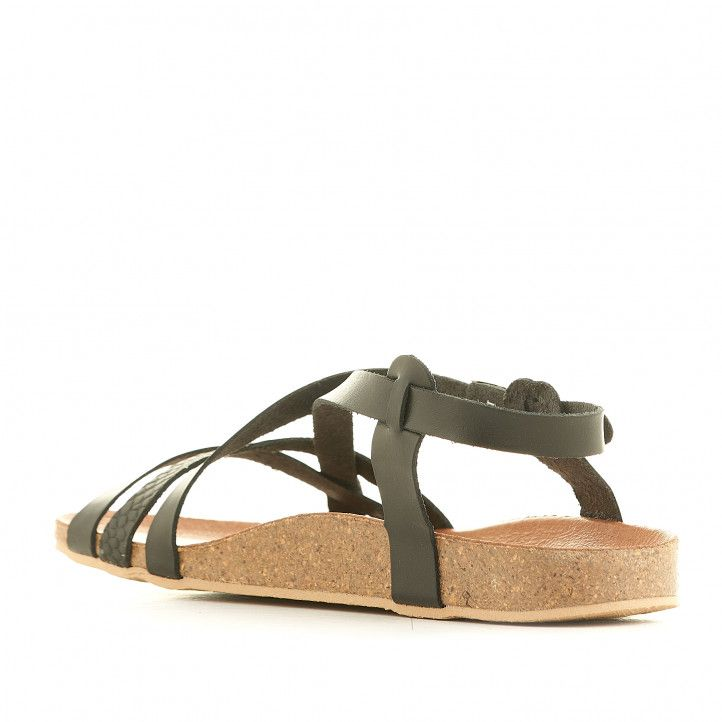 Sandàlies planes THE HAPPY MONK negres amb diverses tires i animal print - Querol online
