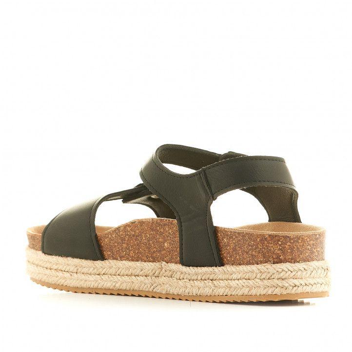 Sandàlies plataformes Owel negres amb plataforma i doble corda - Querol online